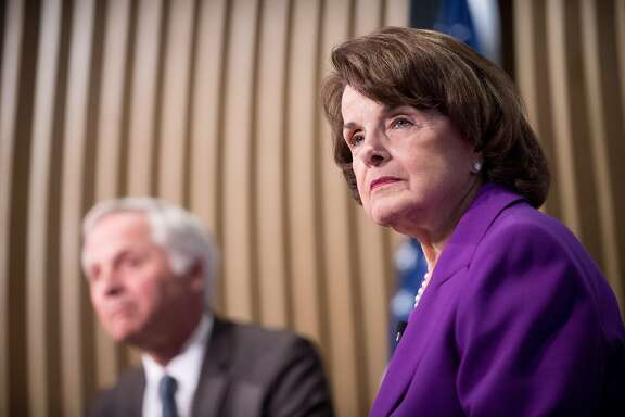 California Democratic Sen. Dianne Feinstein speaks at a Public Policy Institute of California (PPIC) luncheon on Friday, Feb. 24, 2017, in San Francisco. At left is PPIC President and CEO Mark Baldassare.