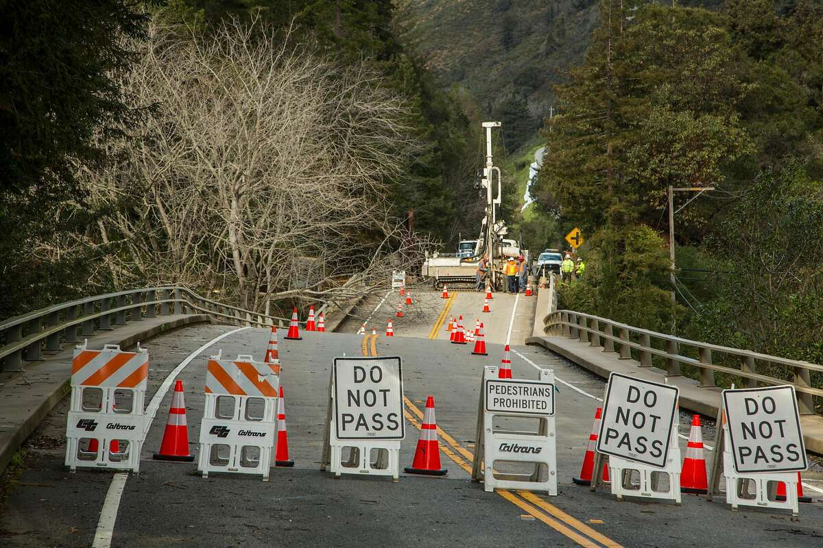 Looking North on Highway 1. Pfieffer Canyon Bridge is sinking and closed to cars and pedestrian traffic. the Big sur community is looking into alternative routes so residents can access their homes and work. Big Sur Calif, Feb 23 2017