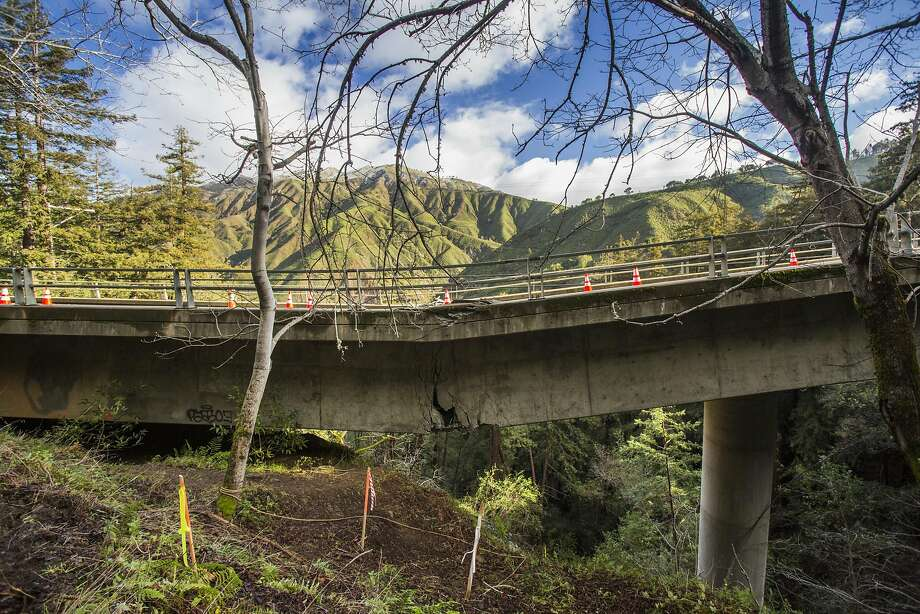 A mudslide triggered by the recent heavy rains has damaged Pfeiffer Canyon Bridge on Highway 1 in Big Sur beyond repair. Photo: Kodiak Greenwood