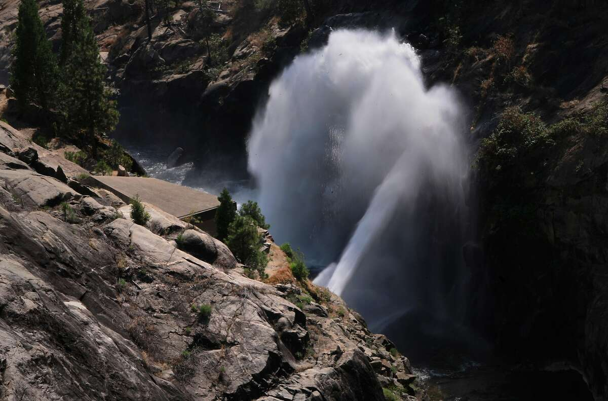 Water from Hetch Hetchy reservoir is shot out of a pipe into the Tuolumne RIver downstream in Yosemite National Park, California, on Thurs. July 28, 2016. Mountain Tunnel, a key piece of the Hetch Hetchy water system is at risk of collapse, so this summer, the San Francisco Public Utilities Commission is preparing to repair the 19-mile-long tunnel just outside of Yosemite in a steep, hard-to-access wilderness area.