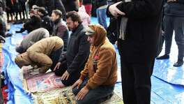 Muslim men pray at a prayer and demonstration against  President Donald Trump's travel ban.   Once, it was Catholics whom many Americans feared would destroy the nation.