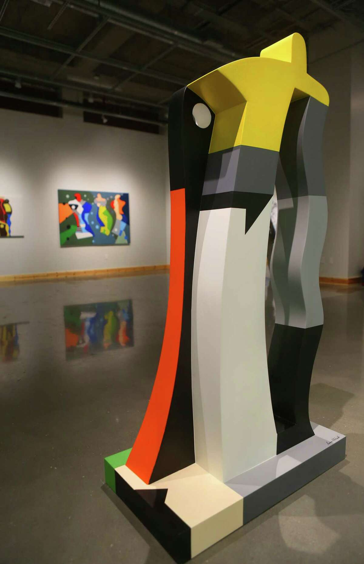 A fiberglass sculpture by artist Ammar Alobaidi stands as part of his show, A Tale of the City, at the O'Kane Gallery at the University of Houston Downtown, Thursday, Feb. 9, 2017, in Houston. Alobaidi recently moved to Houston as a refugee after living in Jordan for years since leaving his native Iraq. ( Mark Mulligan / Houston Chronicle )