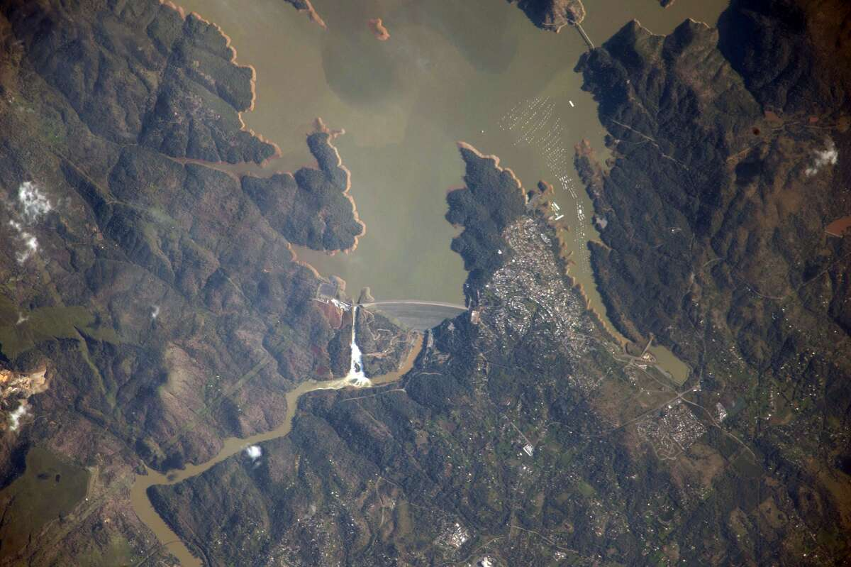 International Space Station crew member Sergey Ryzhikov took this photo of Lake Oroville and the Oroville Dam from space on Feb. 22.