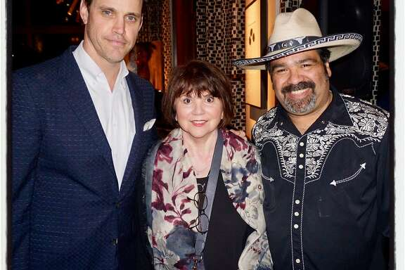 Robert Mailer Anderson (left) with Linda Rondstadt and Los Cenzontles founder Eugene Rodriguez at Panchanga Jam. Feb. 16, 2017.