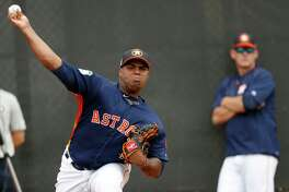 Houston Astros relief pitcher Francis Martes pitches during spring training at The Ballpark of the Palm Beaches, in West Palm Beach, Florida, Thursday, February 16, 2017. ( Karen Warren / Houston Chronicle )