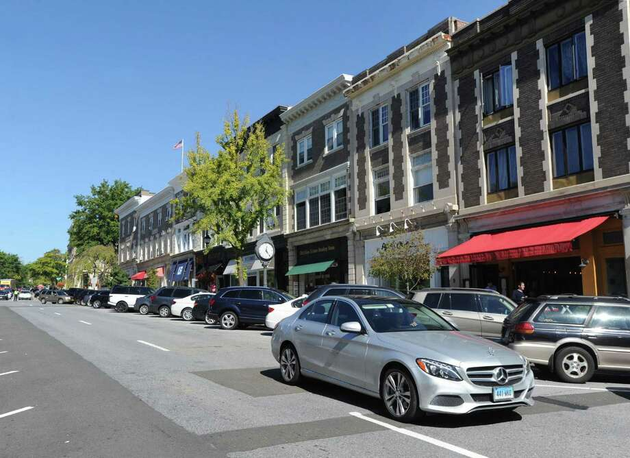 Greenwich Avenue as seen looking north from Bistro V, right, at 339 Greenwich Ave.. The town is looking to upgrade and improve the road. Photo: Bob Luckey Jr. / Hearst Connecticut Media / Greenwich Time