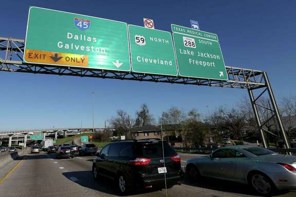 Signs show the connections from Interstate 69/U.S. 59 northbound to Interstate 45 and Texas 288 on Feb. 23. The interchange is one of the first addressed in a lengthy plan to remake downtown Houston freeways.