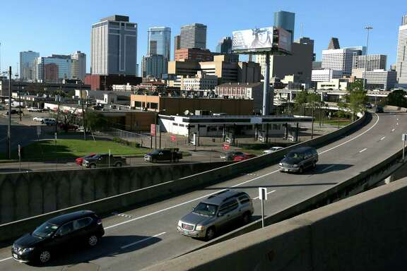 Traffic flows along Interstate 45 southbound leaving Houston's central business district during afternoon rush hour on Feb. 23, east of the Pierce Elevated.
