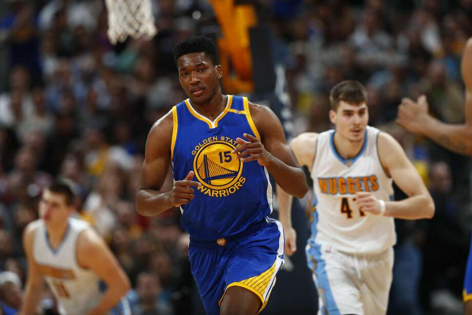 Golden State Warriors center Damian Jones (15) in the second half of an NBA basketball game Monday, Feb. 13, 201, in Denver. The Nuggets won 132-110. (AP Photo/David Zalubowski) Photo: David Zalubowski, Associated Press