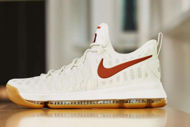 Debuting on the University of Texas men's basketball team on Feb. 25, the KD9 Texas shoe pays homage to Kevin Durant's beloved alma mater. Courtesy of Nike.