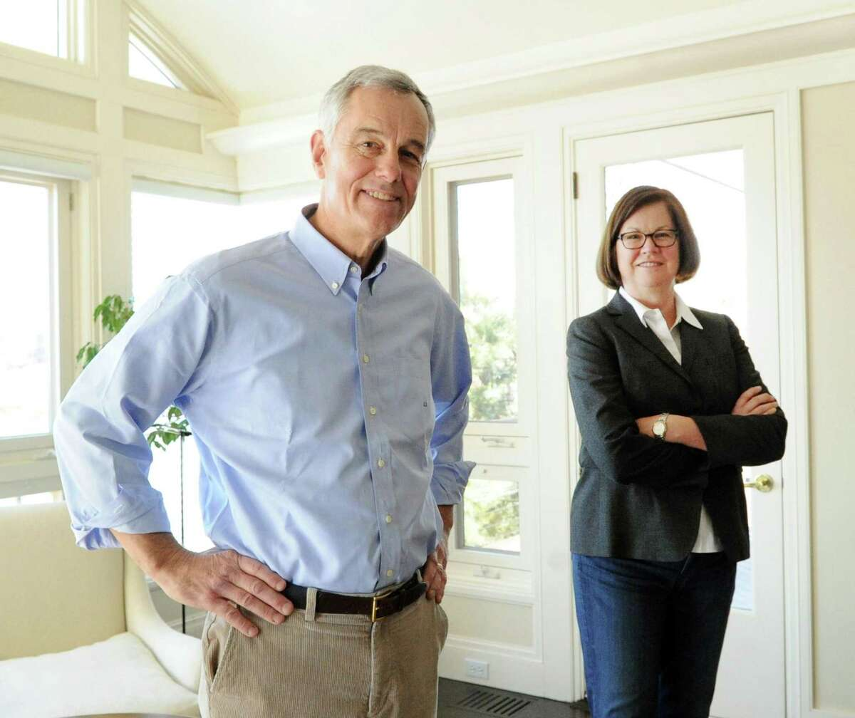 Husband and wife, Andy Duus and Nancy Cooper, at their home in the Riverside section of Greenwich, Conn. Friday, Feb. 17, 2017. The couple, retired investment bankers, have studied the state budget and have come up with recommendations.