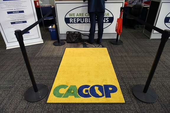 Attendees sign in at registration booths during the California Republican Party's 2017  Organizing Convention in Sacramento, CA, on Friday February 24, 2017.
