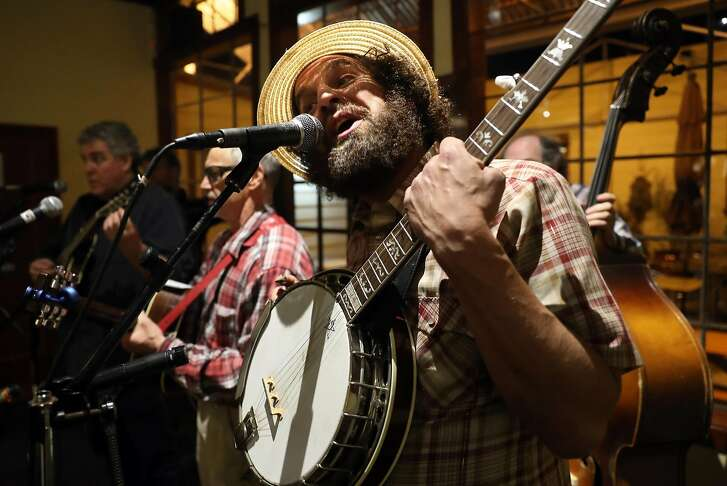 JimBo Trout performs during second to last monthly Bluegrass Jam at Atlas Cafe in San Francisco, Calif., on Thursday, February 23, 2017.
