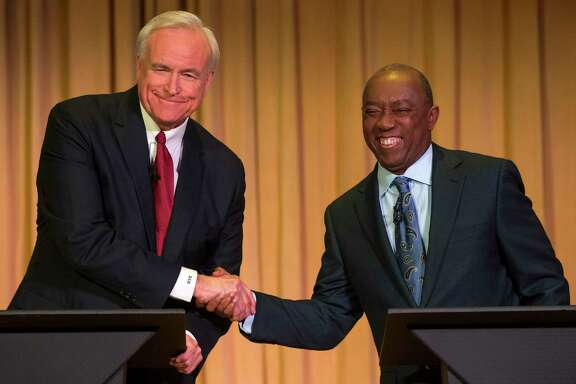Bill King, left, and Sylvester Turner squared off in the 2015 mayoral campaign and are doing so again as King has become a leading critic of Turner's plan to reform the pension plan for Houston police, fire and municipal workers.