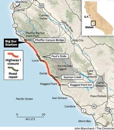Bridge Failure Severs Big Surs Ties To Outside World San - I drive us closure map