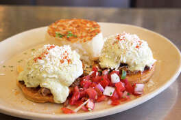 Snooze, an A.M. Eatery, is expanding in the Houston market. Chilaquiles Benedict is among the menu items at the breakfast/brunch spot.