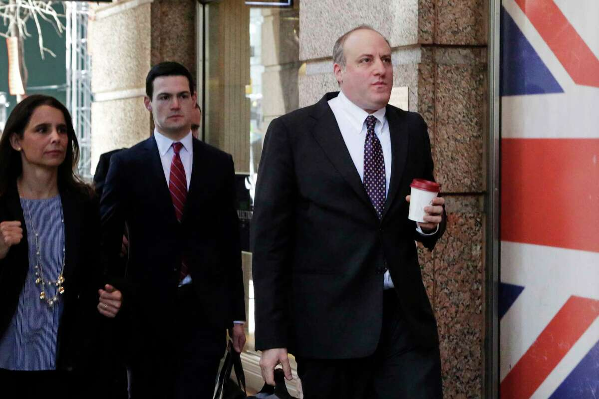 Andrew Goldstein, right, head of the Public Corruption unit of the federal prosecutor's office, arrives for a meeting with Mayor Bill de Blasio, Friday, Feb. 24, 2017, in New York. The mayor's campaign financing is under investigation. (AP Photo/Mark Lennihan) ORG XMIT: NYML102