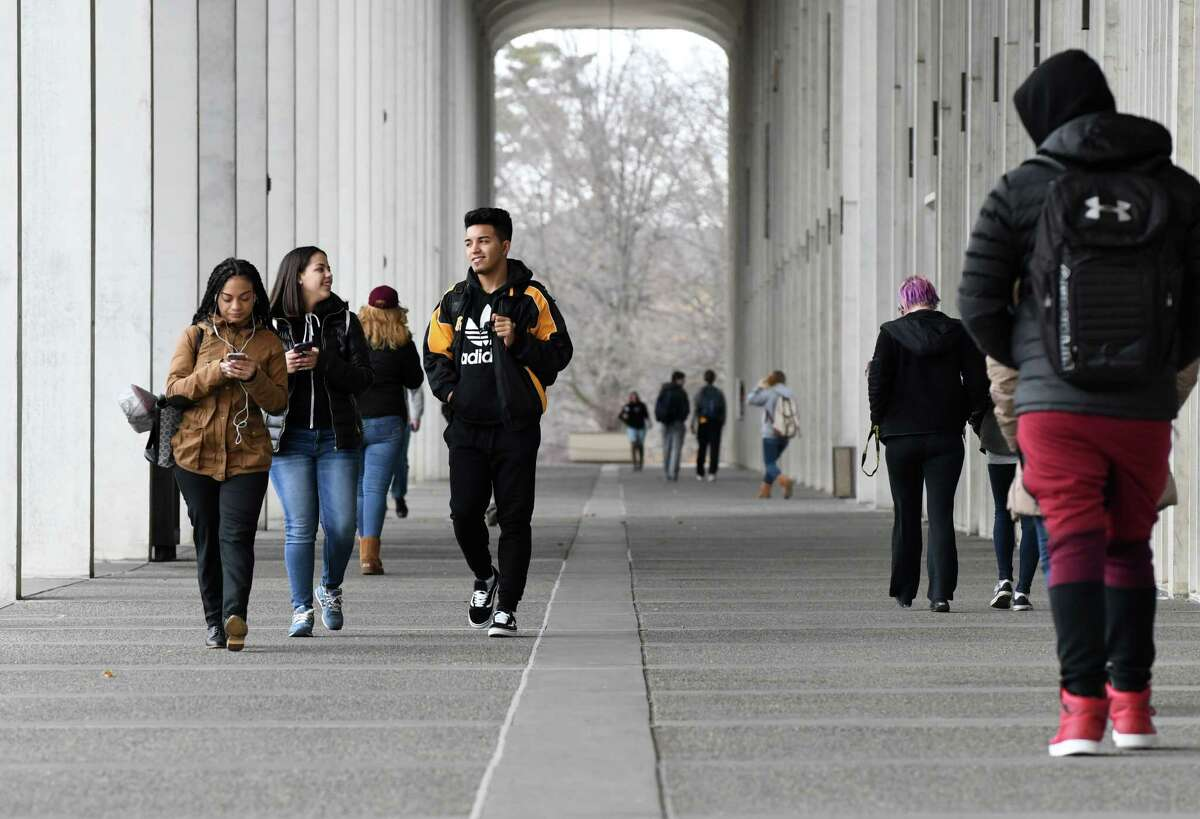 Students pass through the Academic Podium on the University at Albany campus during school session on Monday, Jan. 23, 2017, in Albany, N.Y. (Will Waldron/Times Union)