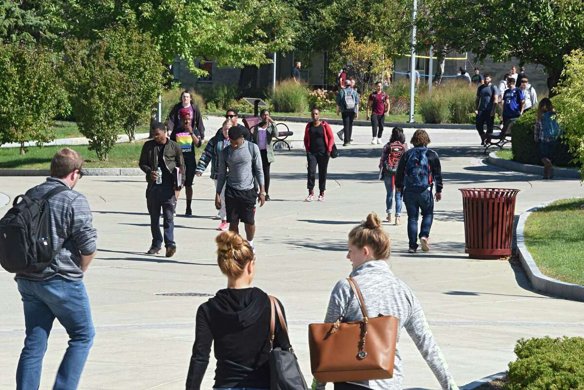 Students walk on campus at Hudson Valley Community College on Wednesday, Oct. 5, 2016 in Troy, N.Y. (Lori Van Buren / Times Union)