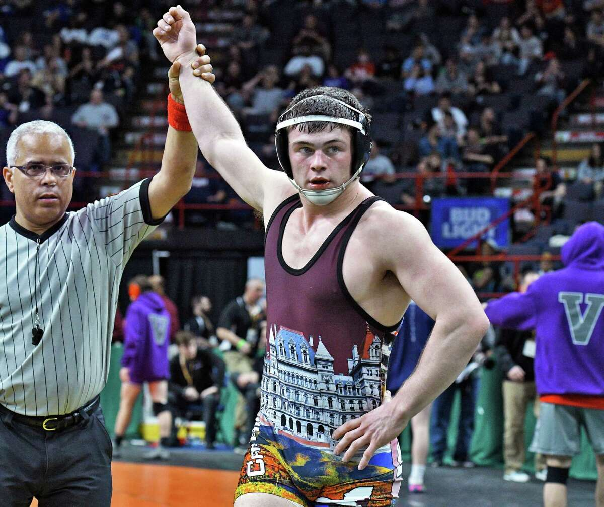 Ballston Spa's Tyler Barnes wins his quarterfinal over Horace Greeley's Jacob Ferreira during the State Wrestling Championships at the Times Union Center Friday Feb. 24, 2017 in Albany, NY. (John Carl D'Annibale / Times Union)