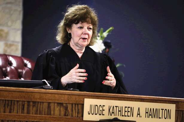 JudgeKathleen Hamilton speaks during the first Veterans Court hearing on Wednesday, May 13, 2015, at the 359th state District Court in Conroe.