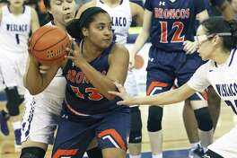 Bronco forward Denay Griffin powers out of the lane with a defensive rebound as Brandeis plays Weslaco at the Laredo Energy Arena in the Region IV-6A semifinals of girls basketball on February 24, 2017.