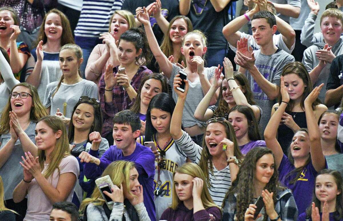 Voorheesville fans cheer as their team wins their Class B quarterfinal against Broadalbin-Perth at Shenendehowa High Friday Feb. 24, 2017 in Clifton Park, NY. (John Carl D'Annibale / Times Union)