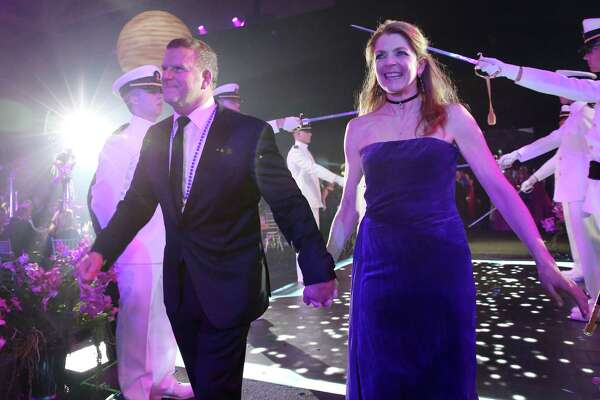Tilman and Paige Fertitta entering their San Luis Salute Space Pirate party Friday, Feb. 24, 2017, in Galveston.