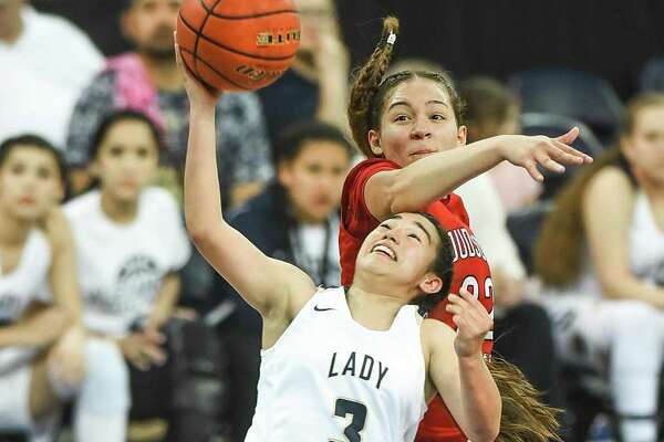 Alexander High School Valerie Lopez goes for the lay-in on Friday, February 24, 2017 during a game against Judson High School at the Laredo Energy Arena.