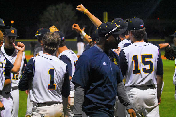 The Cy Ranch Mustangs celebrate new head coach Corey Cephus' first varsity win. Cephus replaced the man he called, 'a living legend,' John Pope, when Pope joined the Rice University pitching coach staff during the offseason, moving from Langham Creek as an assistant to take the helm of the Mustangs Baseball program.