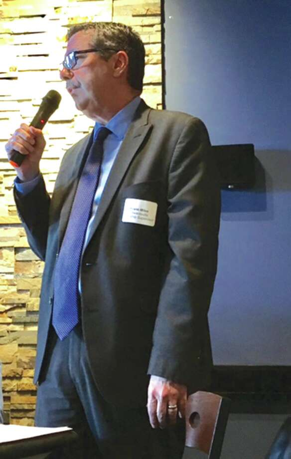 Edwardsville Township Supervisor Frank Miles speaks Thursday at the Lunch and Learn Workshop. Photo: Steve Horrell • Intelligencer
