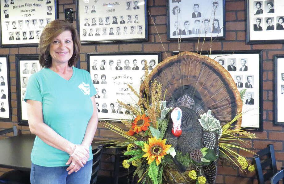 Beth Behme Adkison inside the Wild Turkey Bar and Grill in Worden. Photo: Carol Arnett • Intelligencer