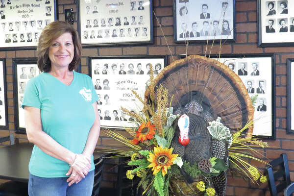 Beth Behme Adkison inside the Wild Turkey Bar and Grill in Worden.