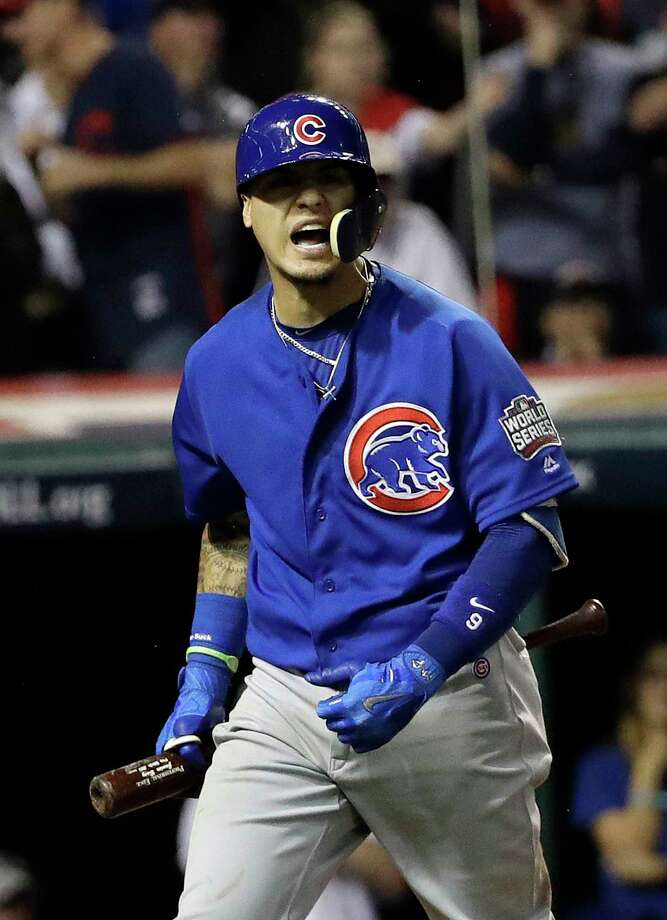 Chicago Cubs' Javier Baez reacts after striking out on a bunt attempt during the ninth inning of Game 7 of the Major League Baseball World Series against the Cleveland Indians Wednesday, Nov. 2, 2016, in Cleveland. (AP Photo/David J. Phillip) Photo: David J. Phillip, Associated Press / Copyright 2016 The Associated Press. All rights reserved.