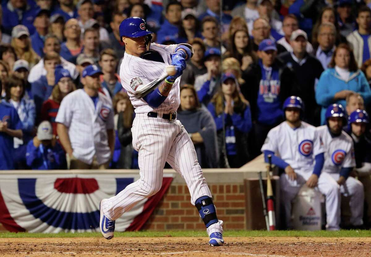 CHICAGO, IL - OCTOBER 28: Javier Baez #9 of the Chicago Cubs stirkes out in the ninth inning against the Cleveland Indians in Game Three of the 2016 World Series at Wrigley Field on October 28, 2016 in Chicago, Illinois.