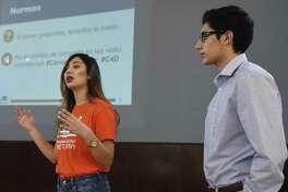 CT Students for a Dream Community Organizer Angelica Idrovo and Pablo Idrovo speak at the Ecuadorian Civic Center in Danbury in January.