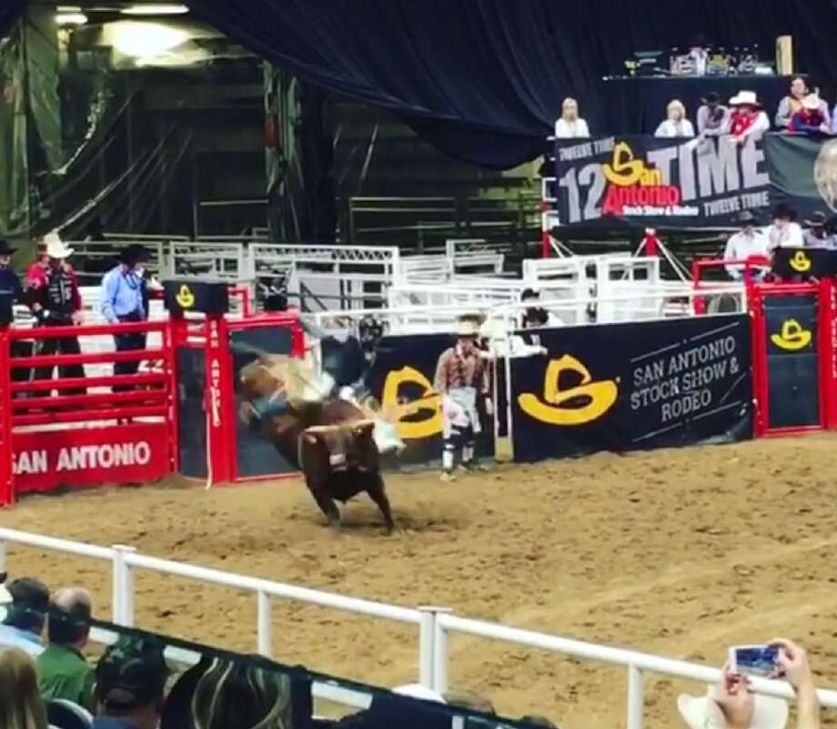 A San Antonio Stock Show & Rodeo bull rider's brutal kick to the head was caught on video by a spectator Wednesday, Feb. 22, 2017. Photo: Courtesy Carolyn Marye