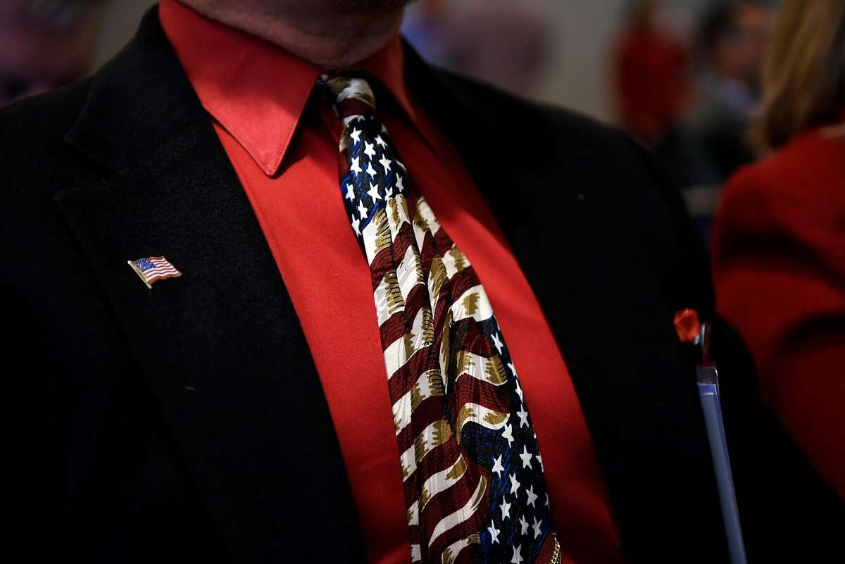 An attendees American flag tie is seen during a Tea Party General Meeting at the California Republican Party's 2017 Organizing Convention in Sacramento, CA, on Saturday February 25, 2017.