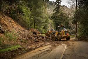 Highway 1, Big Sur, Calif, Feb 24th 2017. Highway still reamins closed with mud and debree flows. This slide just North of Fernwood resort in Big Sur.