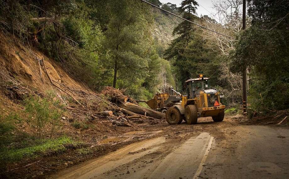 Highway 1, Big Sur, Calif. after a mudslide on Feb 24th 2017. This was taken just North of Fernwood Resort in Big Sur. Photo: Kodiak Greenwood
