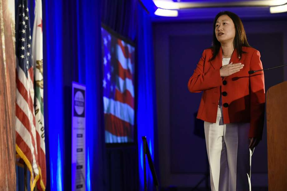 State Senator Janet Nguyen, R-Garden Grove, leads the pledge of allegiance during the California Republican Party's 2017 Organizing Convention in Sacramento, CA, on Saturday February 25, 2017. Photo: Michael Short, Special To The Chroincle