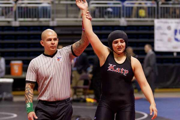 Courtney Garza of Katy defeated Ariana Mendoza of Comal Smithson Valley to win third place in the Class 6A girls 185-pound consolation final at the UIL Wrestling State Championships Saturday, Feb. 25, 2017, in Cypress.