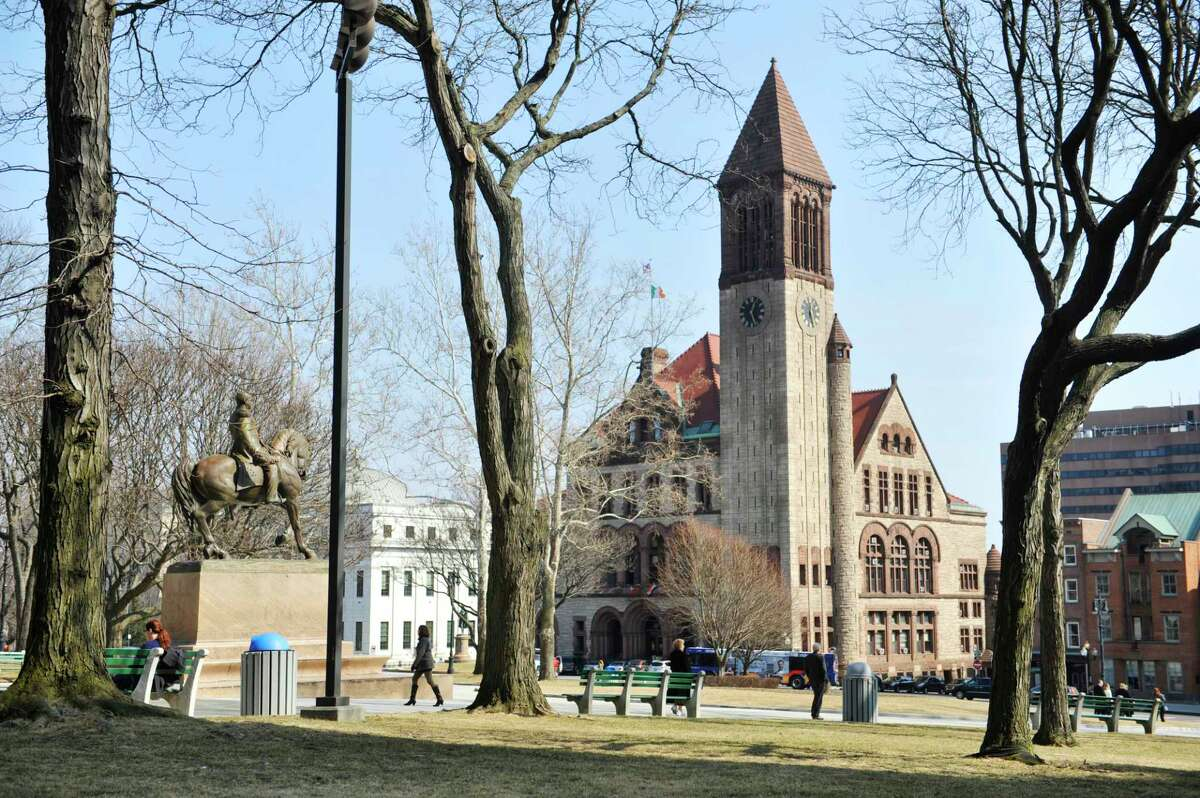 Albany City Hall is seen in the background in this view from the east lawn of the New York State Capitol on Tuesday, March 8, 2016, in Albany N.Y. (Paul Buckowski / Times Union)