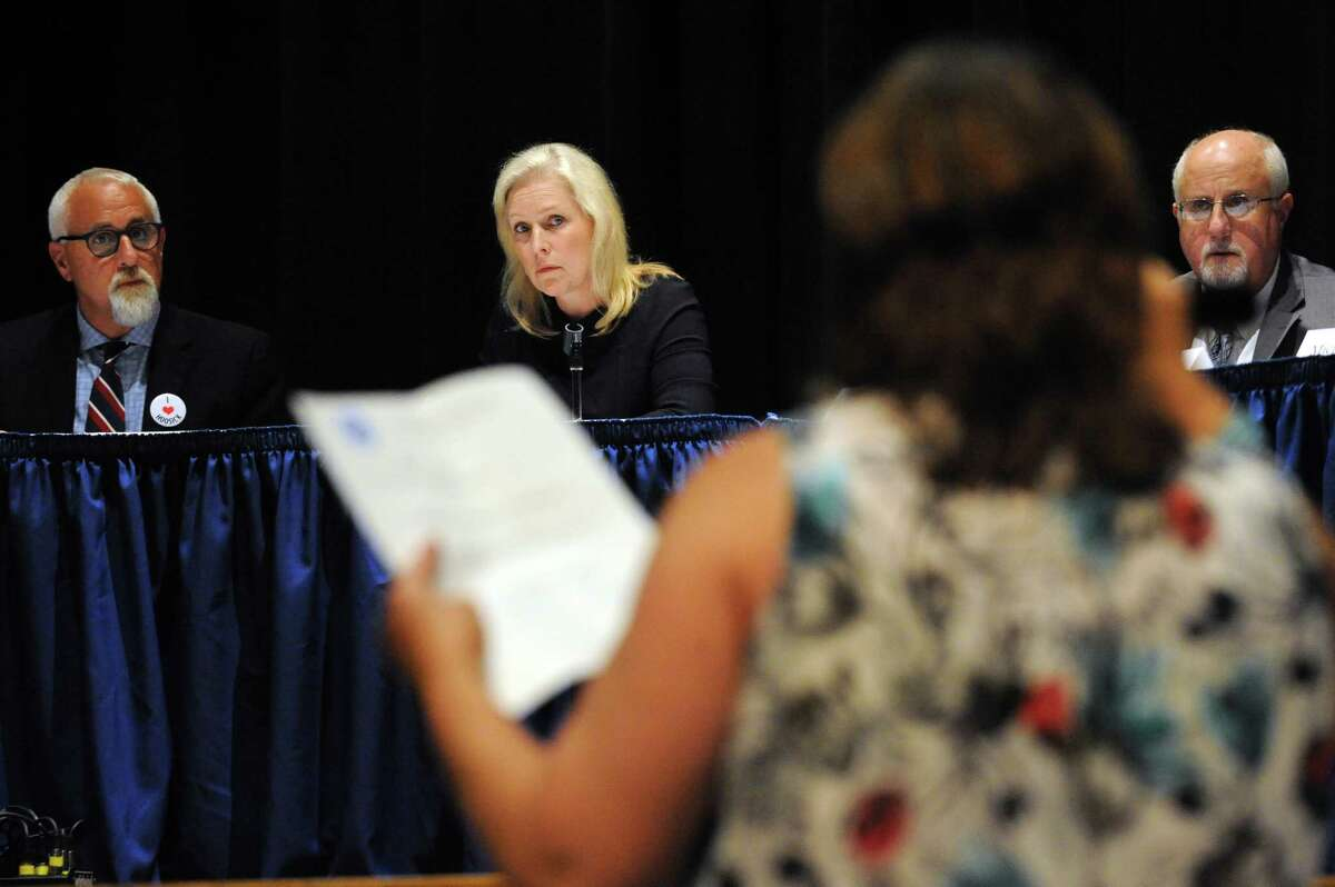 U.S. Senator Kirsten Gillibrand listens as Petersburgh Teresa Scicchitano-deWaal resident tells how the PFOA contamination has personally impacted her life during a roundtable discussion at Hoosick Falls Central School on Friday July 8, 2016 in Hoosick falls, N.Y. (Michael P. Farrell/Times Union)