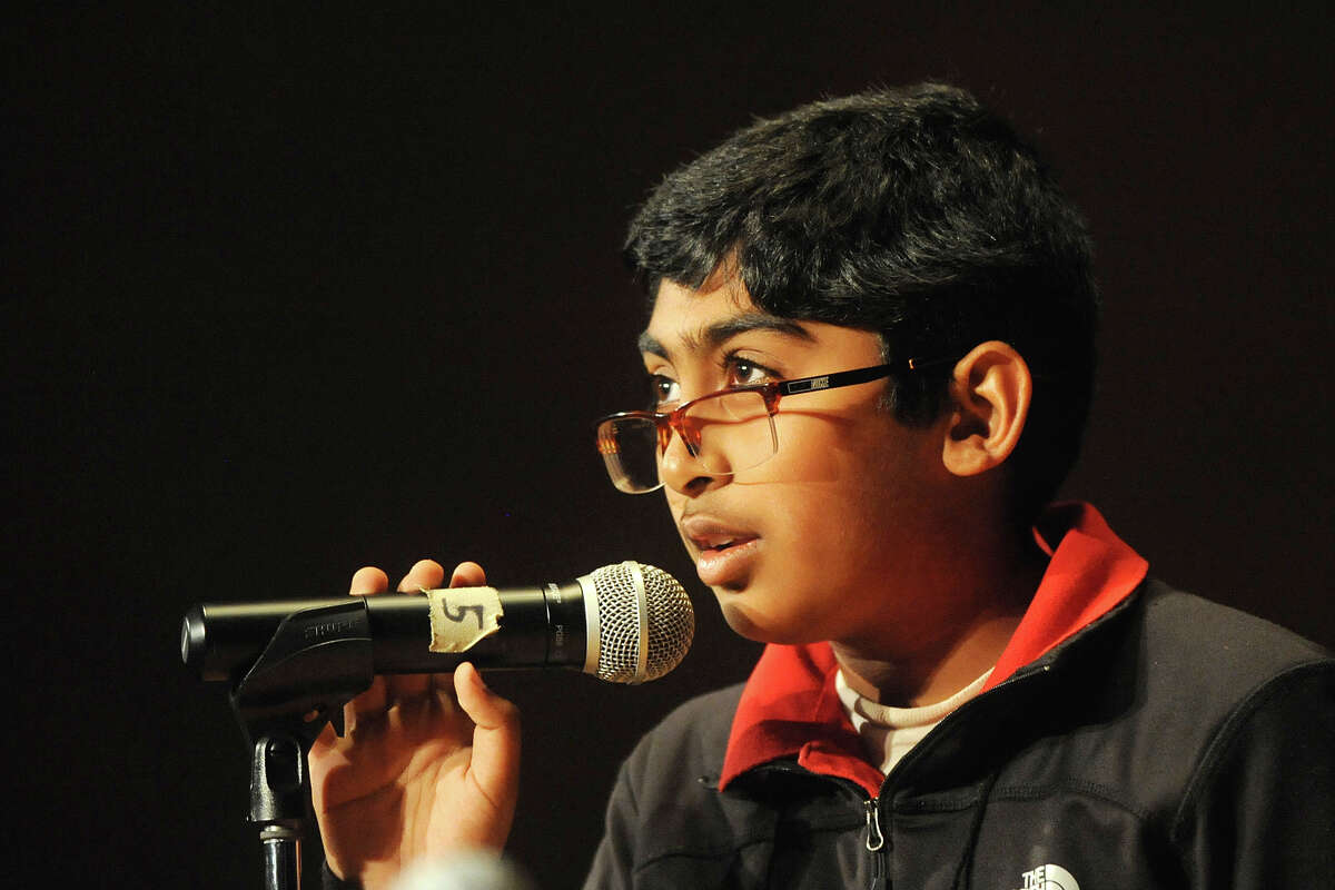 Srikar Chamarthi competes in the Midland Reporter-Telegram's 30th annual regional Spelling Bee on Saturday, Feb. 25, 2017, at the Allison Fine Arts Building on the campus of Midland College. James Durbin/Reporter-Telegram