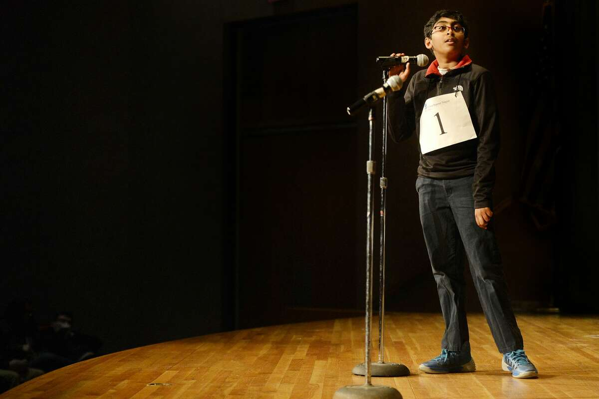 Srikar Chamarthi listens as he is told a word to spell during the Midland Reporter-Telegram's 30th annual regional Spelling Bee on Saturday, Feb. 25, 2017, at the Allison Fine Arts Building on the campus of Midland College. James Durbin/Reporter-Telegram