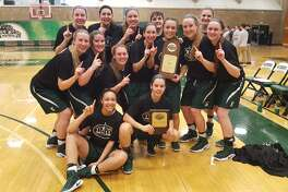 The Sage women's basketball team celebrates after clinching a Division III NCAA Tournament berth Saturday. (Photo courtesy Sage)