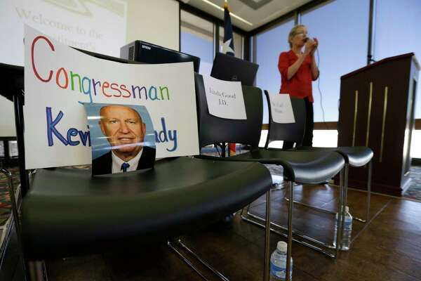A photo of Congressman Kevin Brady is shown in a chair during an event billed as a town hall of the constituents of the 8th Congressional District held at Conroe Tower, 300 W. Davis Street, Saturday, Feb. 25, 2017, in Conroe.  The 8th Congressional District is represented by Congressman Kevin Brady (R-Woodlands), and the event organizers invited the congressman, but didn't expect him to attend.