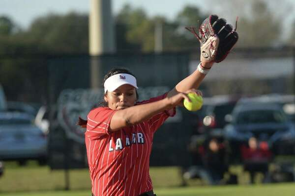 Lamar's Ciara Luna fires off a pitch from the mound as they face Big 12 opponent Kansas Saturday. Photo taken Saturday, February 25, 2017 Kim Brent/The Enterprise