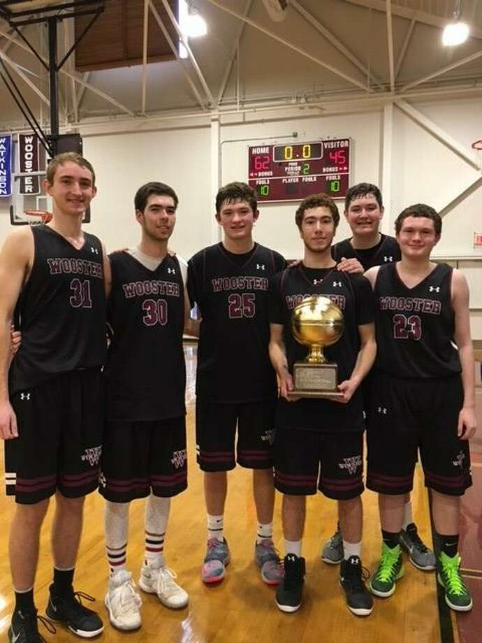 Seniors on the Wooster boys basketball team with the HVAL trophy, from left, Sam Cox, Alex Foote, Kern Byrnes, Arda Buyuklu, Stephen Perrault and Brogan Heneghan. Photo: Contributed Photo / Contributed Photo